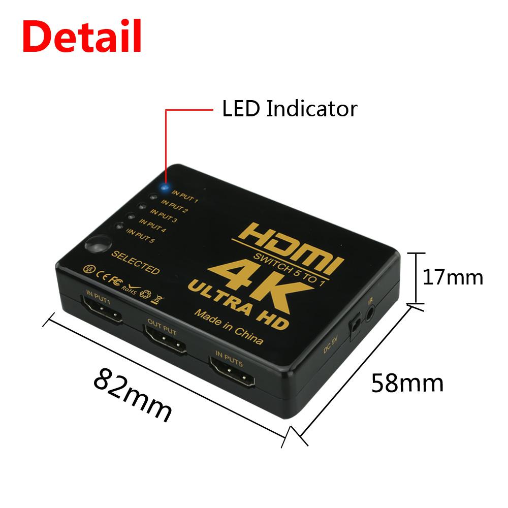 سوئیچ 1 به 5 پورت HDMI مدل OZ-501 کیفیت 4K