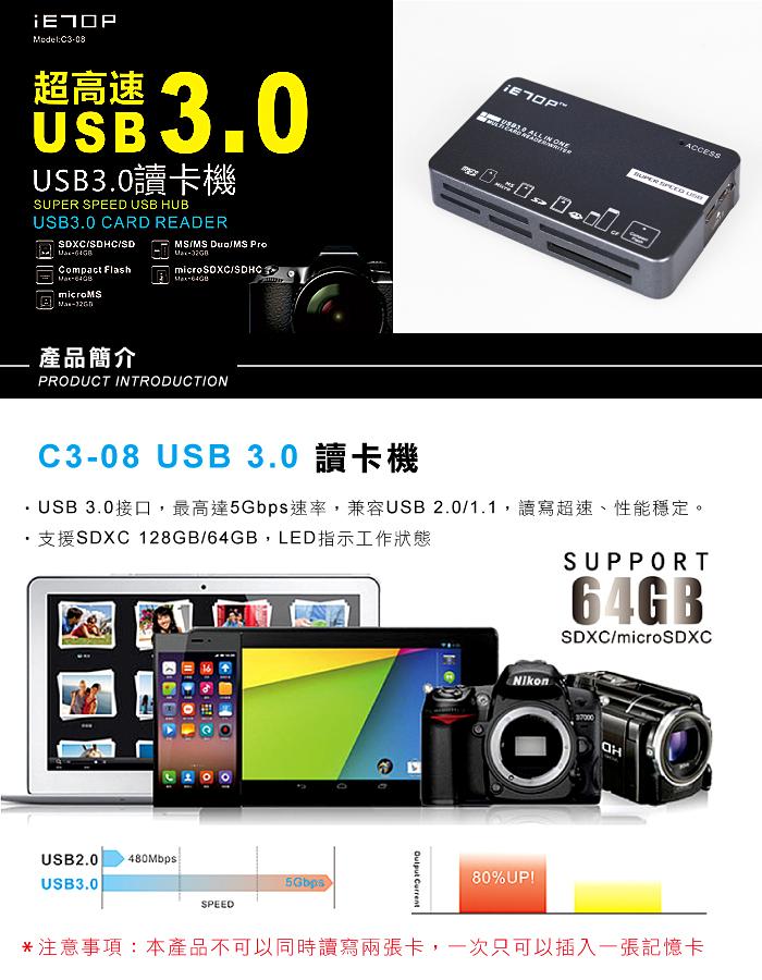رم ریدر USB 3.0 مدل IETOP (کارت خوان USB 3.0)