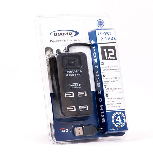 هاب 4 پورت USB 2.0 اسکار با کابل 1.2 متر