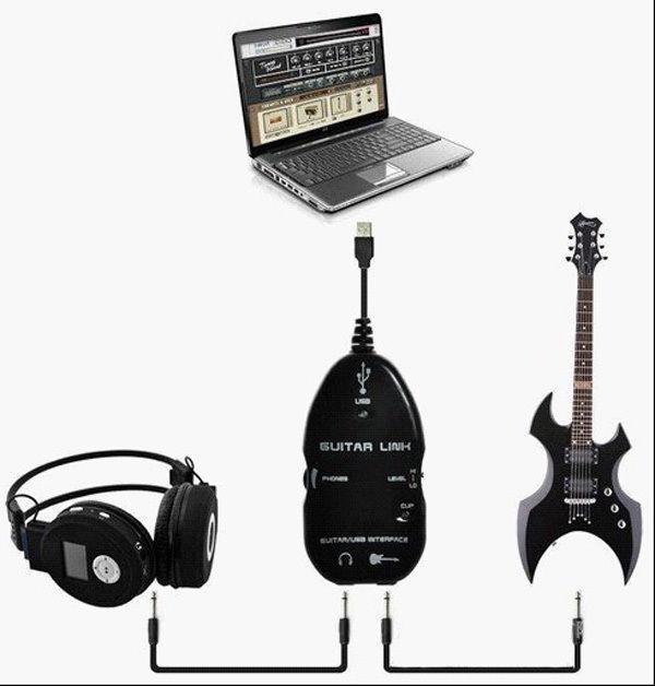 کابل تبدیل گیتار به USB کامپیوتر و خروجی هدفون لمونتک