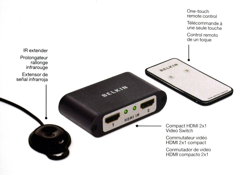 افزایش و سوئیچ HDMI یک به دو 1080p (belkin)