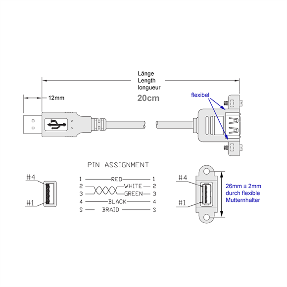 کابل افزایش طول 30 سانتی (کوتاه) پیچ شو