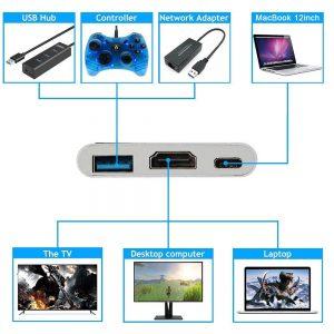 تبدیل type c به hdmi و USB 3.0 با کیفیت 4k لمونتک
