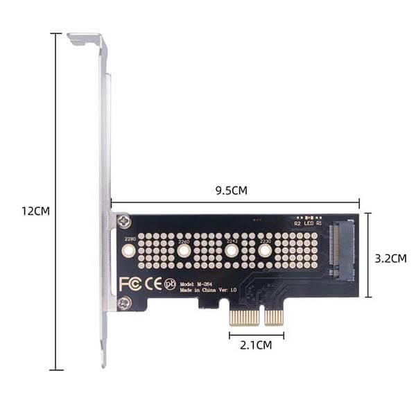 قیمت خرید کارت تبدیل اس اس دی M.2 NVMe بهPCIe x1